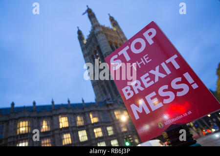 Westminster, London, UK. 7th Jan 2019. Anti Brexit protesters demonstate outside the Houses of Parliament Credit: George Cracknell Wright/Alamy Live News - Stock Photo