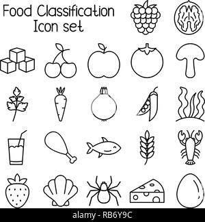 Food classification icon set, meal vector symbols. - Stock Photo