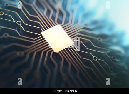 Microchip with gold connections in depth of field. Concept of technology, electronic printed circuit. 3D illustration. - Stock Photo