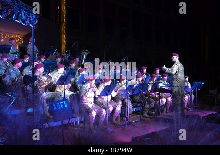 Paratroopers from the 82nd Airborne Division marching band perform for Paratroopers and Families during the All American Holiday Concert at Fort Bragg, N.C., Dec. 14, 2016. - Stock Photo