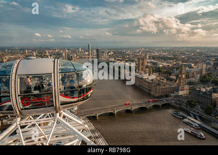 London skyline view from top of London Eye including the Big Ben and house of parliament - Stock Photo