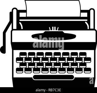 Antique typewriter icon, simple style - Stock Photo