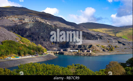 Disused Slate Quarry near Llanberis, Gwynedd, North Wales. Image taken in October 2018. - Stock Photo