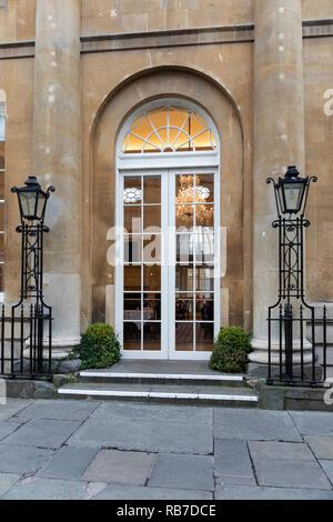 An entrance leading into The Pump Room Restaurant, Bath Abbey Square, Bath, England - Stock Photo
