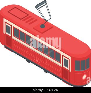 Red tram car icon, isometric style - Stock Photo