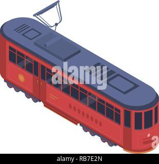 Classic tram car icon, isometric style - Stock Photo