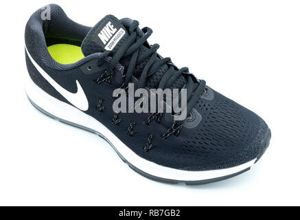 Black Nike Pegasus 33 running shoe cut out isolated on white background - Stock Photo