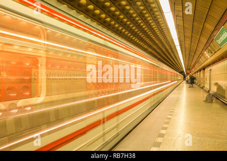 Staroměstská metro station, Prague Metro, Czech Republic. - Stock Photo