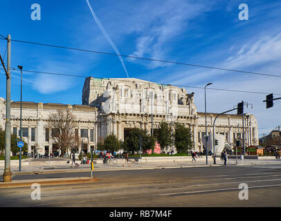 Milan, Italy - December 30, 2018. Main facade of the Milano Centrale train station on Piazza Duca d'Aosta. Milan, Lombardy, Italy. - Stock Photo