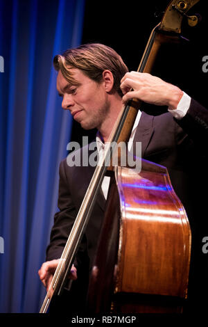 Morton Ankarfeldt soloing on double bass with Mads Mathias Quartet, Scarborough Jazz Festival 2017 - Stock Photo