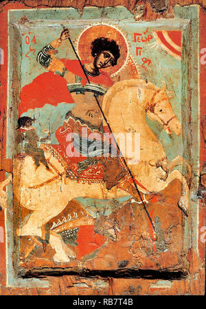 Macedonian workshop, St. George the Dragon-slayer on Horseback, Circa 1550-1599 Icon, Benaki Museum, Athens, Greece. - Stock Photo