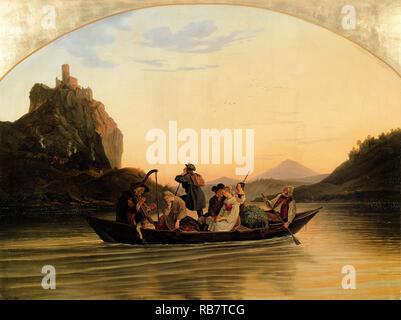Adrian Ludwig Richter, Crossing at Schreckenstein 1837 Oil on canvas, Galerie Neue Meister, Dresden, Germany. - Stock Photo