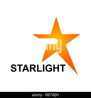 Starlight logo template in orange star concept. Vector Illustration - Stock Photo
