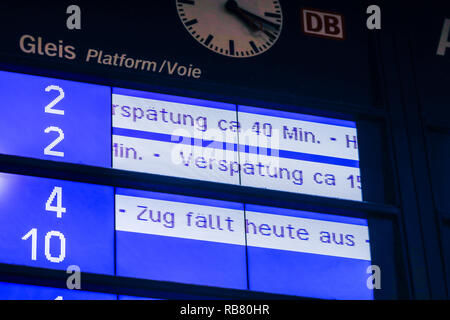 Essen, North Rhine-Westphalia, Ruhr area, Germany - Scoreboard at Essen Central Station shows train delays and cancellations, here on the occasion of  - Stock Photo
