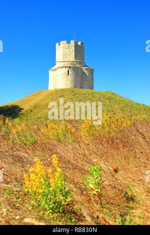 Nin, Croatia, old stoned Church of St. Nicholas, famous touristic attraction - Stock Photo
