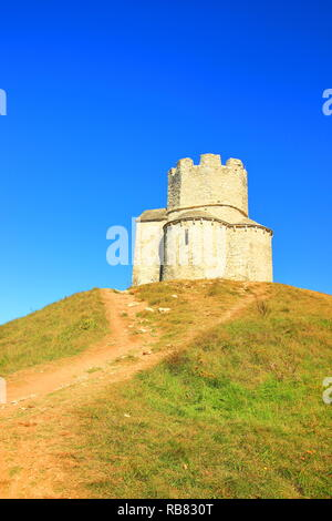 Nin, Croatia, old stoned Church of St. Nicholas, famous touristic attraction - Stock Photo