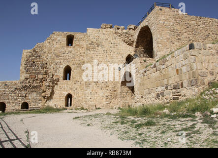 Ruins of the Kerak Castle, a large crusader castle in Kerak (Al Karak) in Jordan - Stock Photo
