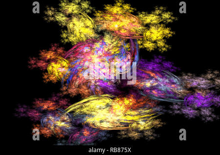 Blue yellow pink fractal background. Fantasy fractal texture. Digital art. 3D rendering. Computer generated image - Stock Photo