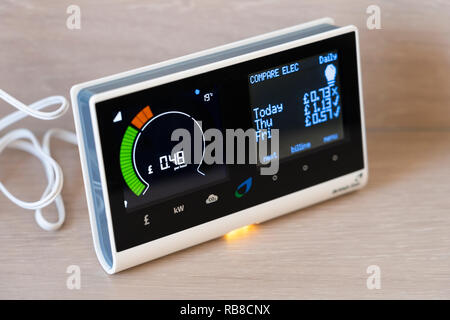 A British Gas smart meter in a home showing electricity consumption per hour and comparing with previous days usage - Stock Photo