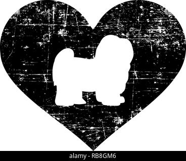 Havanese silhouette in black heart - Stock Photo