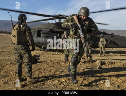 U.S. Marines, along with several partner nations, conduct a casualty evacuation drill during exercise Platinum Lion at the Novo Selo Training Area, Dec. 14, 2016. The exercise will bring together eight NATO Allies and partner nations for a live-fire exercise aimed to strengthen security and regional defenses in Eastern Europe. Black Sea Rotational Force is an annual multilateral security cooperation activity between the U.S. Marine Corps and partner nations in the Black Sea, Balkan and Caucasus regions designed to enhance participants' collective professional military capacity, promote regiona - Stock Photo