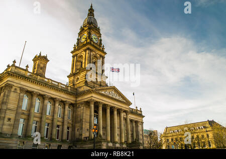 Bolton Town Hall in the late afternoon light.  Lancashire, England - Stock Photo