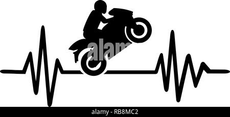 Heartbeat pulse line with motorbike stunt driver - Stock Photo