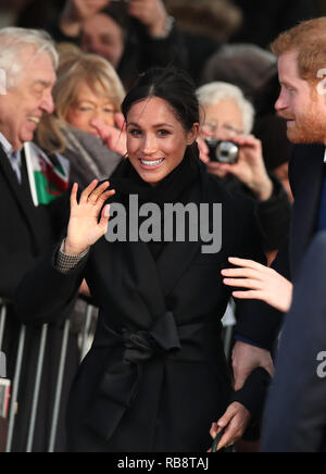 Prince Harry and Meghan Markle meet members of the public during a visit to Cardiff Castle in Wales Thursday January 18 2018. - Stock Photo