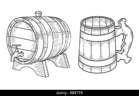Beer glass, wooden mug. Sketch style vector illustration. Alcoholic drink drawing. Great for restaurant, bar, pub menu, oktoberfest - Stock Photo