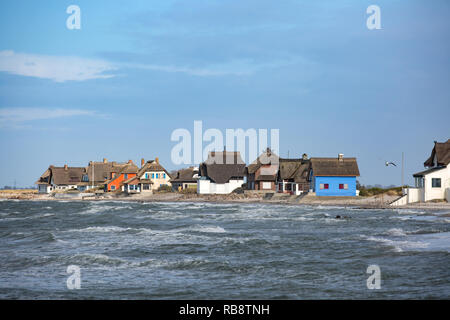 District Graswarder beach in Heiligenhafen Baltic Sea with colorful houses - Stock Photo