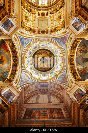 St Petersburg, Russia - August 5, 2018. Interior of the St Isaac Cathedral in St Petersburg, Russia. Inside view of beautiful interior decorations - Stock Photo