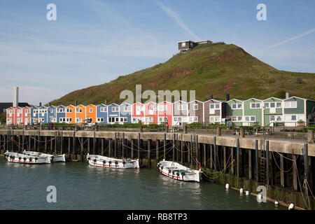 Colorful lobster stalls in harbor of Helgoland - Stock Photo