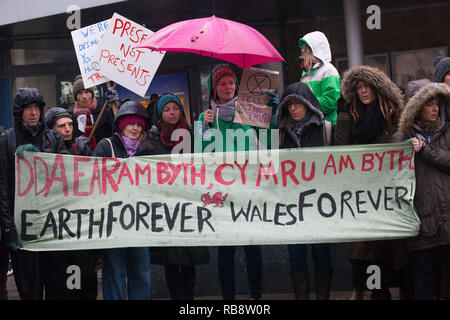 Extinction Rebellion action in Carmarthen ,Wales, December 2018 protesting about climate change issues threatening the earth and both our and wildlifes futures. - Stock Photo