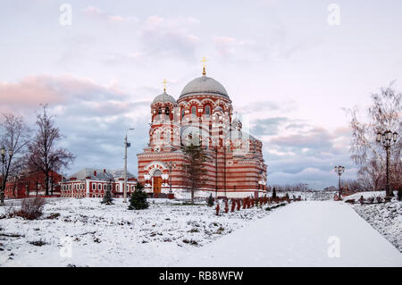 Russia Kolomna the ancient temple of the Holy Trinity at sunset in winter. - Stock Photo