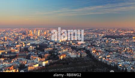 Paris city panorama - aerial view at sunset - Stock Photo