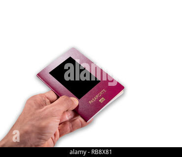 Caucasian man hand giving passport on white with text space and shadow - Stock Photo