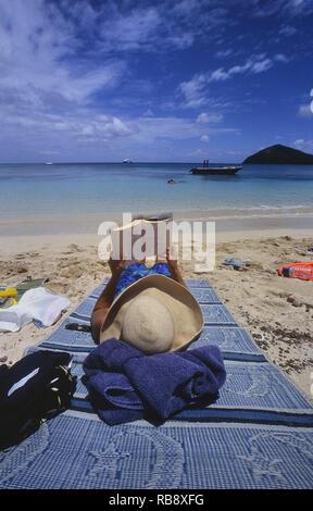 Woman reading on a tropical desert island beach.Fiji. South Pacific - Stock Photo