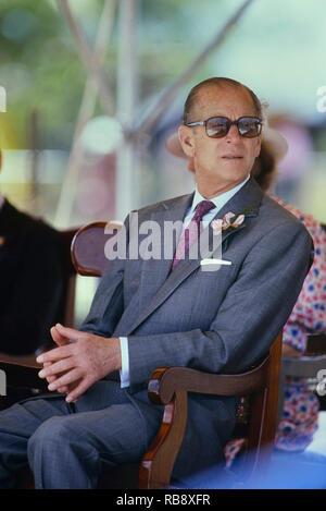 Prince Philip, Duke of Edinburgh. Royal visit to Barbados, Circa 1989 - Stock Photo