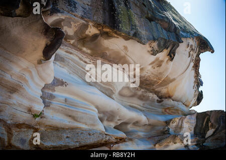 Rock formations eroded by wind and water along the Bondi to Coogee cliff walk in Sydney's Eastern suburbs, Australia. - Stock Photo