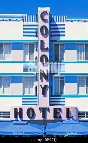 The Colony Hotel, South Beach, Miami, Florida, USA - Stock Photo