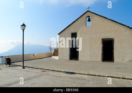Sanctuary of the Holy Virgin, old church in Quattropani, Lipari, with amazing panoramic views over the Tyrrhenian sea and the Aeolian Archipelago. - Stock Photo