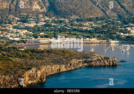 Aerial view of the Island of the black beach of Vulcano from Lipari in the Aeolian Islands archipelago, Thyrrenian Sea, Sicily, Italy - Stock Photo