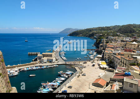 Panoramic aerial view on city center and harbor in Lipari, Aeolian islands, Sicily, Italy - Stock Photo