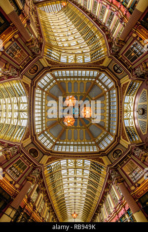 London, England. The central interior of Leadenhall Market, Gracechurch Street, City of London, England, - Stock Photo