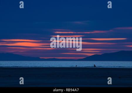 Pink sunset on the Great Salt Lake. - Stock Photo