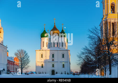 Kolomna, Russia. Orthodox Churches Of Cathedral Square. Bell Tower Of Church Of Tikhvin, Assumption Cathedral, Bell Tower And Church Of Intercession O - Stock Photo