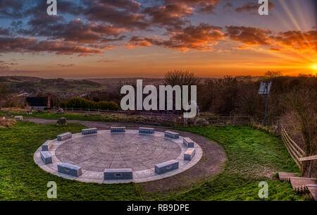 Derbyshire Dales, Peak District. 8th Jan 2019. UK Weather: spectacular sunset at the StarDisc looking over  Wirksworth in the Derbyshire Dales, Peak District HDR image Credit: Doug Blane/Alamy Live News - Stock Photo