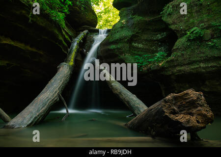 Cascade flowing over fallen logs in Kaskaskia Canyon during Summer. Starved Rock State Park, Illinois, USA. - Stock Photo