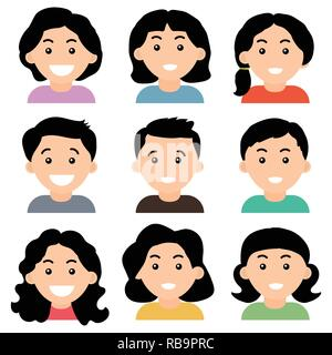 Young teenage girls and boys avatars isolated on white background, Flat design. Vector Illustration. - Stock Photo