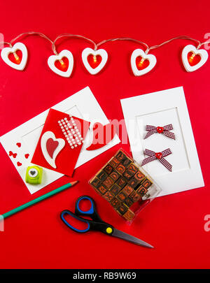 Making Valentine's day postcard concept. Made with love for friends and lover. - Stock Photo